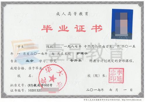 北華大學函授畢業證